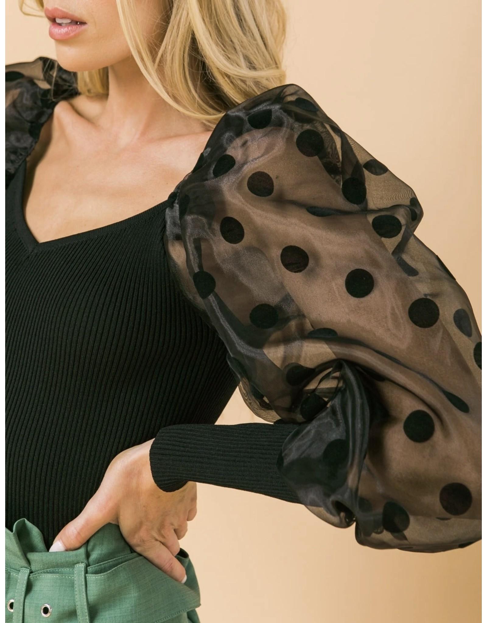 Polka Dot Organza Sleeves Sweater Top - Black