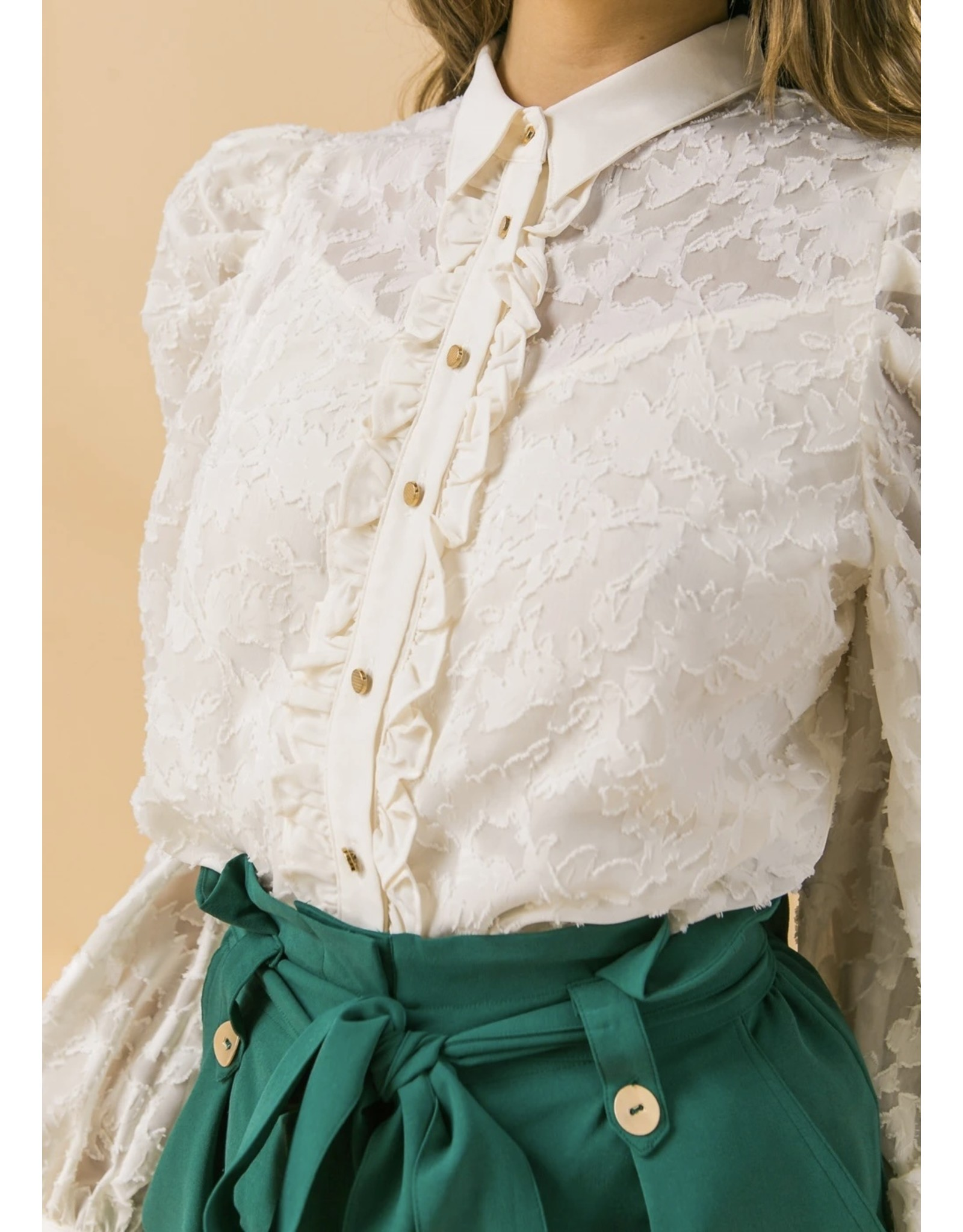 Lace Button Down Blouse - Ivory