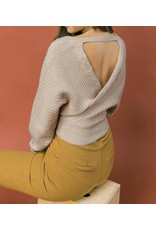 Open Back Cropped Sweater - Taupe