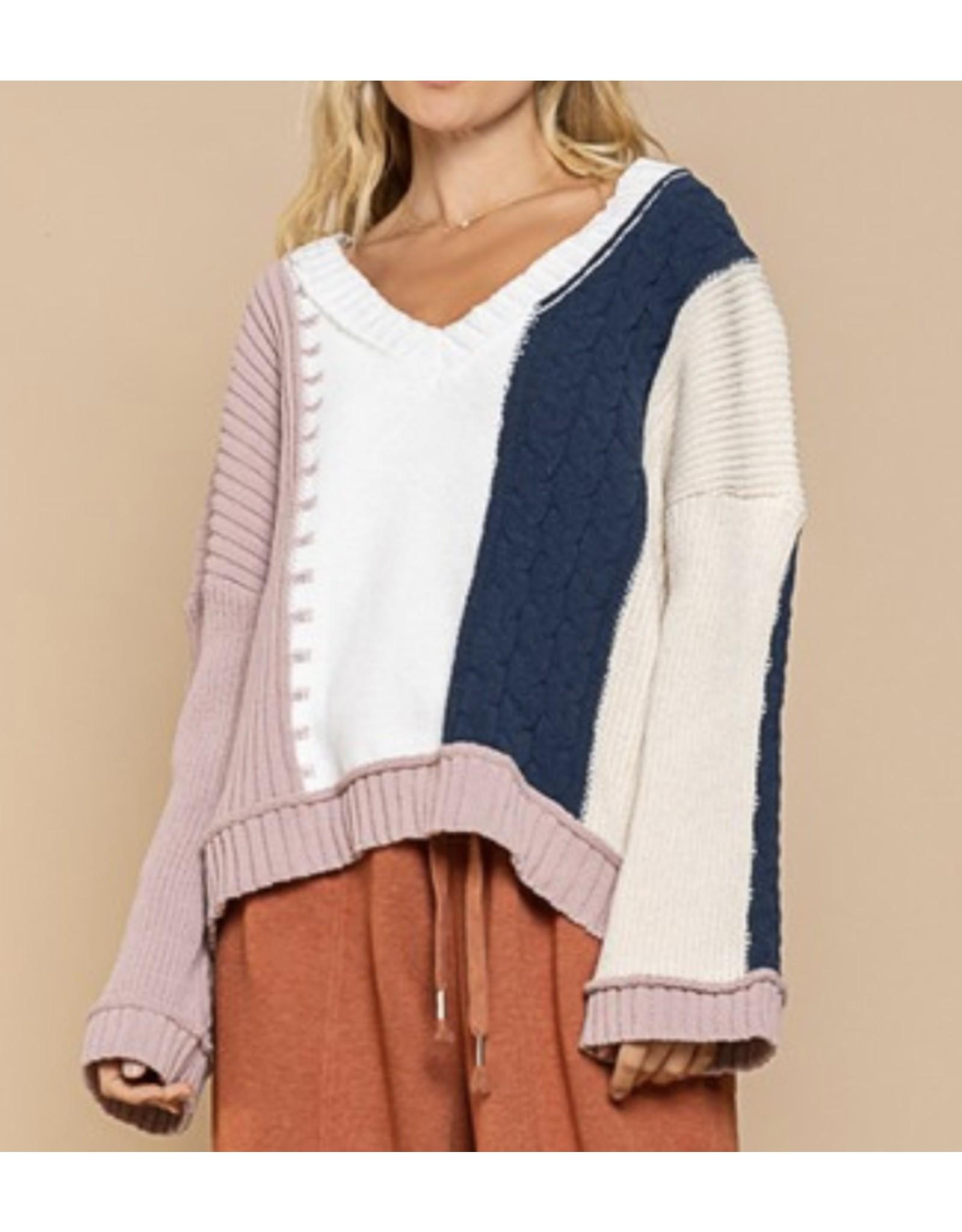 Color Block Hi/Low Sweater - Navy/Mauve