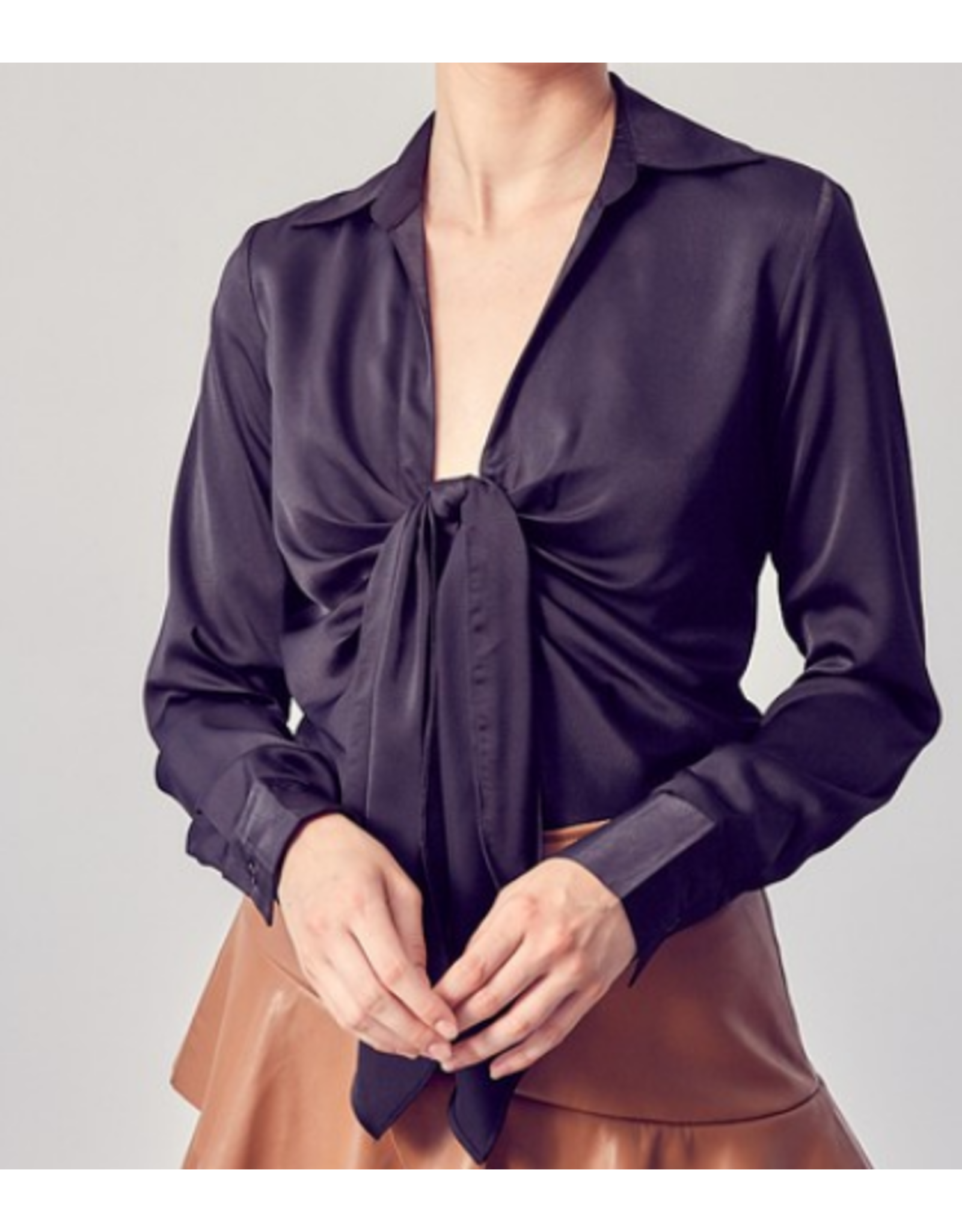 Tie Detail Collared Top