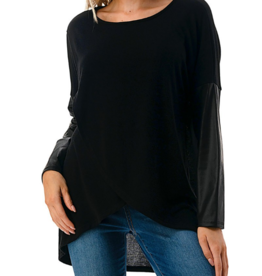 Ariella Pleather Sleeves Top - Black