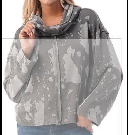 Ariella Splatter Cowl Neck Knit Top - Grey
