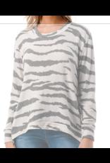 Ariella Zipper Detail Zebra Knit Tunic - Silver