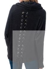 Ariella  Lace Up Back Cowl Neck Sweater - Charcoal