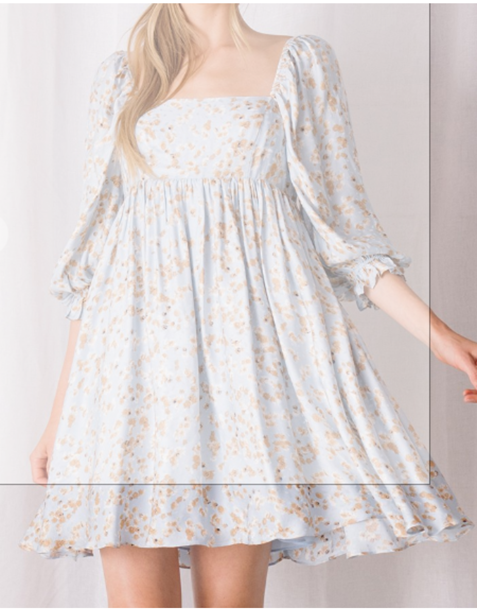 Storia Floral Babydoll Dress - Blue