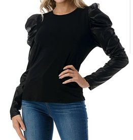 Ariella Puff Pleather Sleeves Top - Black