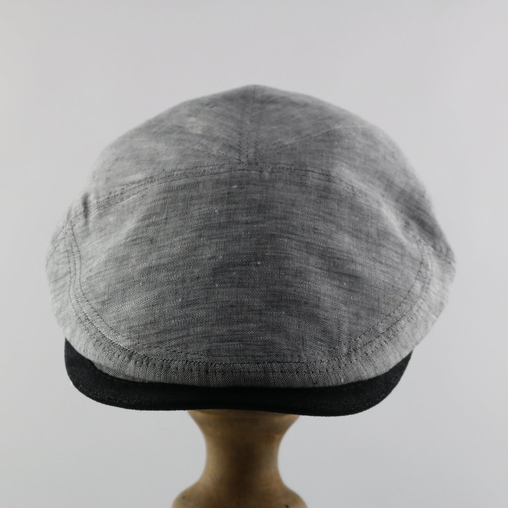 MAGILL HAT LINEN CAP WITH LEATHER TRIM