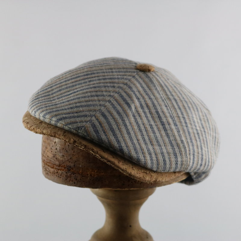 MAGILL HAT FLAT CAP WITH CORK BRIM AND BUTTON
