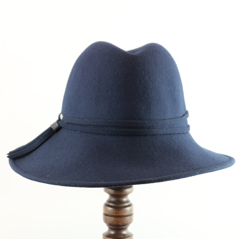 CANADIAN HAT ASYMMETRICAL BRIM FELT FEDORA WITH TASSLE