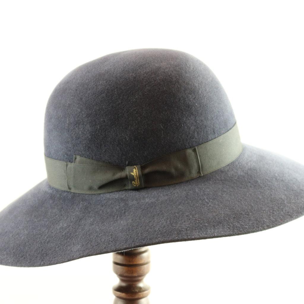 BORSALINO WIDE BRIM VELOUR FUR FELT DRESS HAT