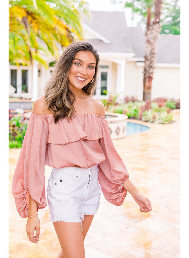 Your Favorite Ruffle Off the Shoulder Crop Top