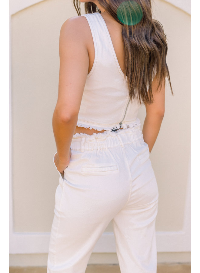 Hailee's Fav Off-White Denim Crop Top