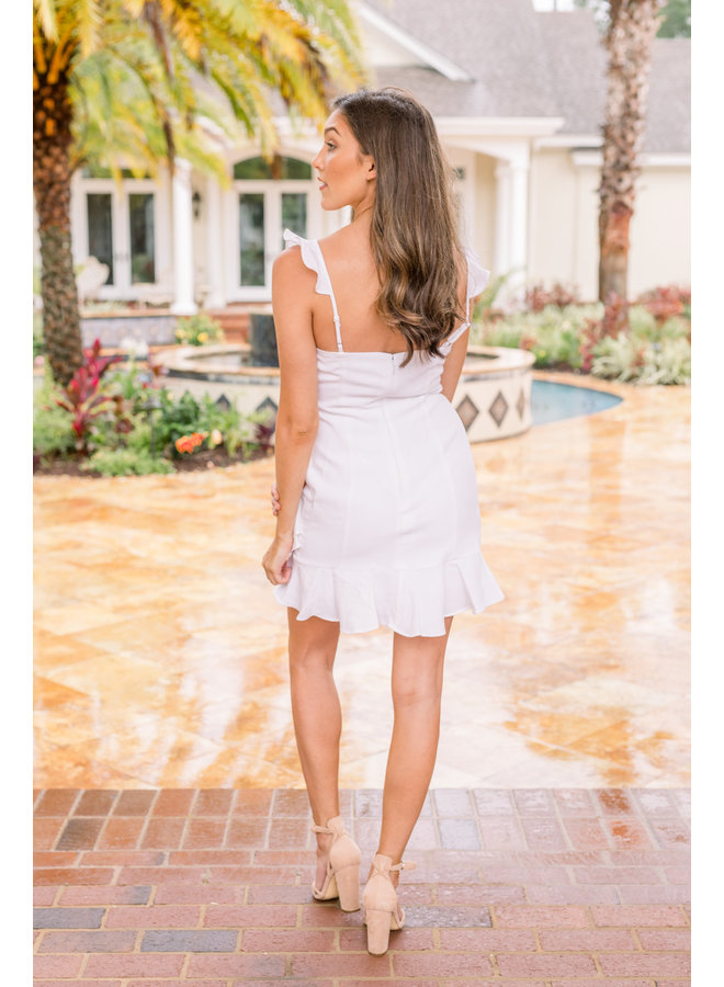 Ruffle White Mini Dress