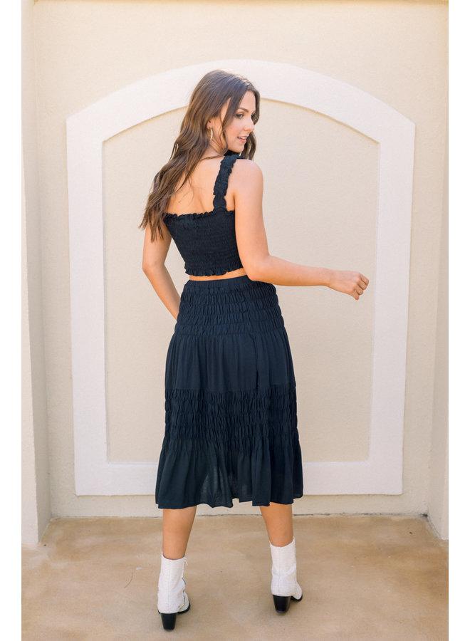 Take Me Away Smocked Midi Skirt