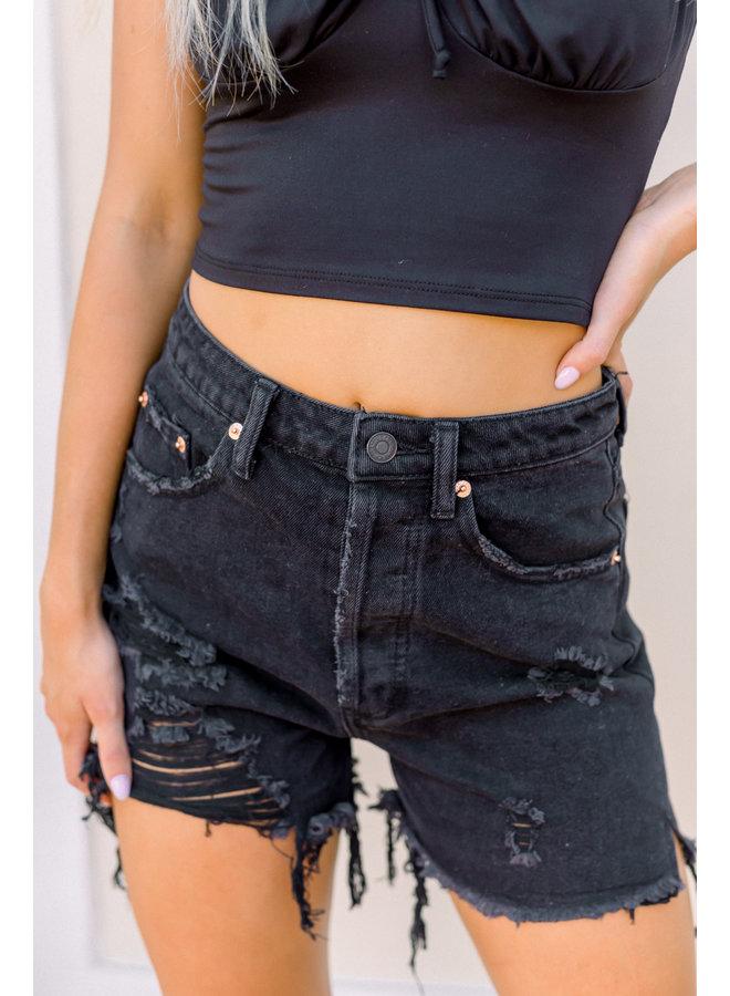 Black Destroyed High Rise Denim Shorts