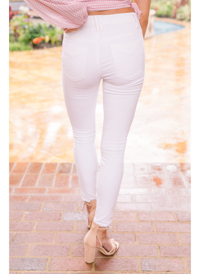Structured White Denim Skinnys