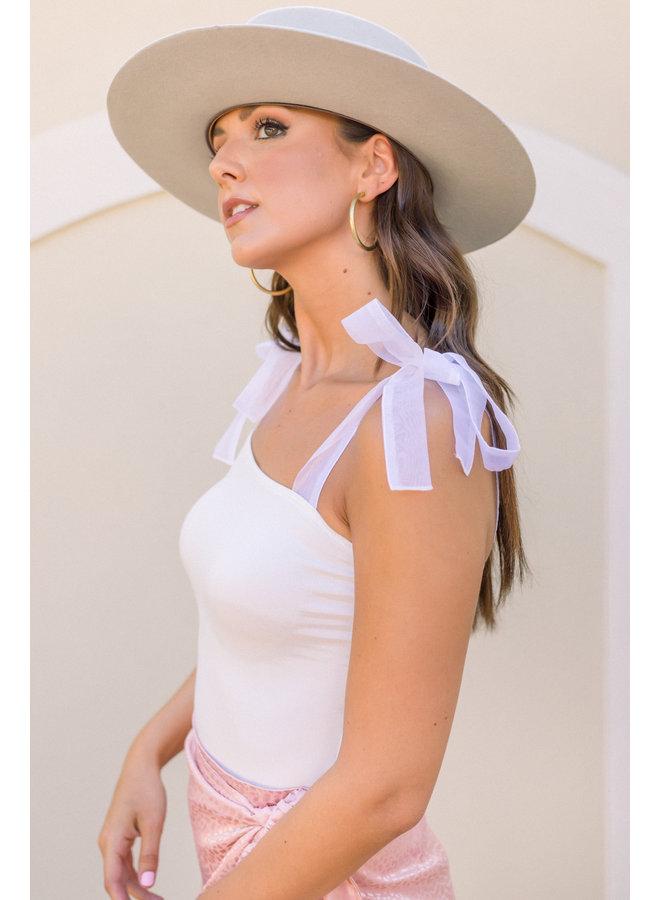 White Ribbon Tie Bodysuit
