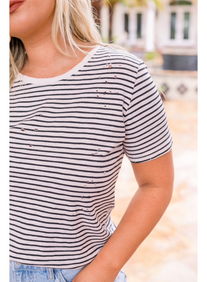 Striped Distressed Tee
