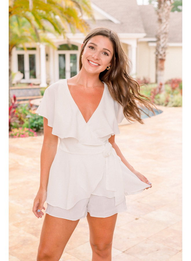 Wrap Playsuit White