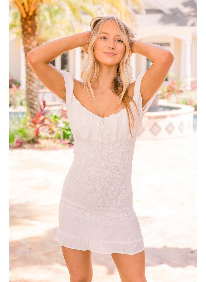 White Emily Smocked Dress