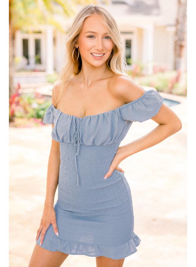 Blue Emily Smocked Dress