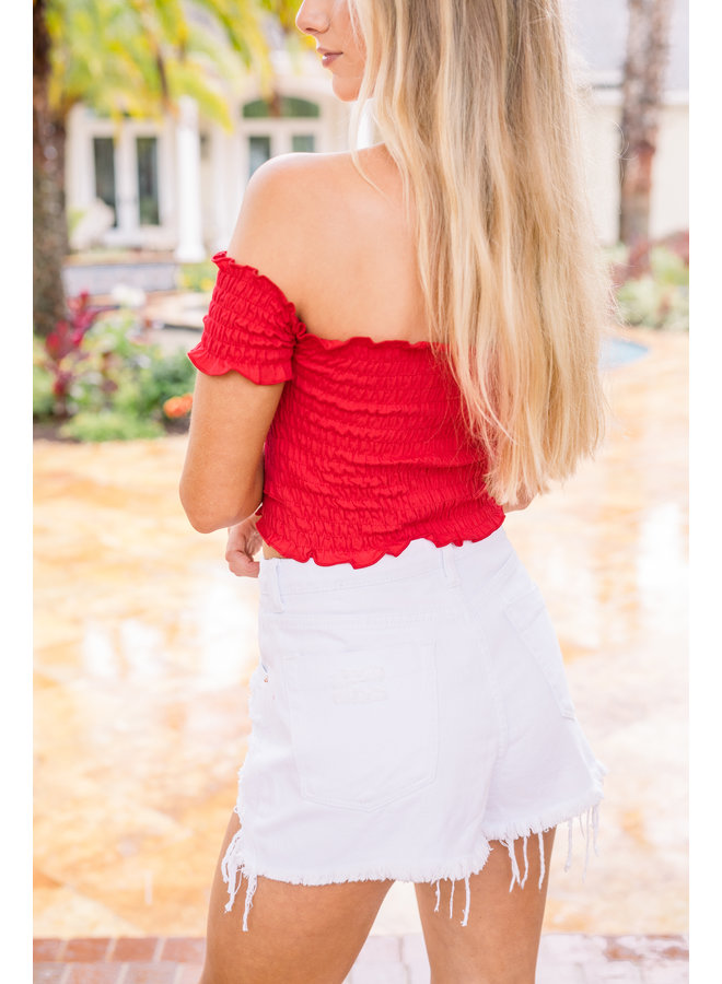 Hots For You Smocked Crop Top