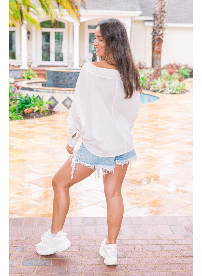 White Button Down Sleeve Top