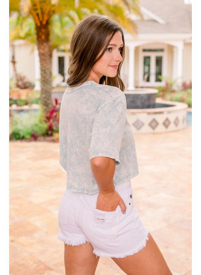 Super High Rise White Denim Shorts