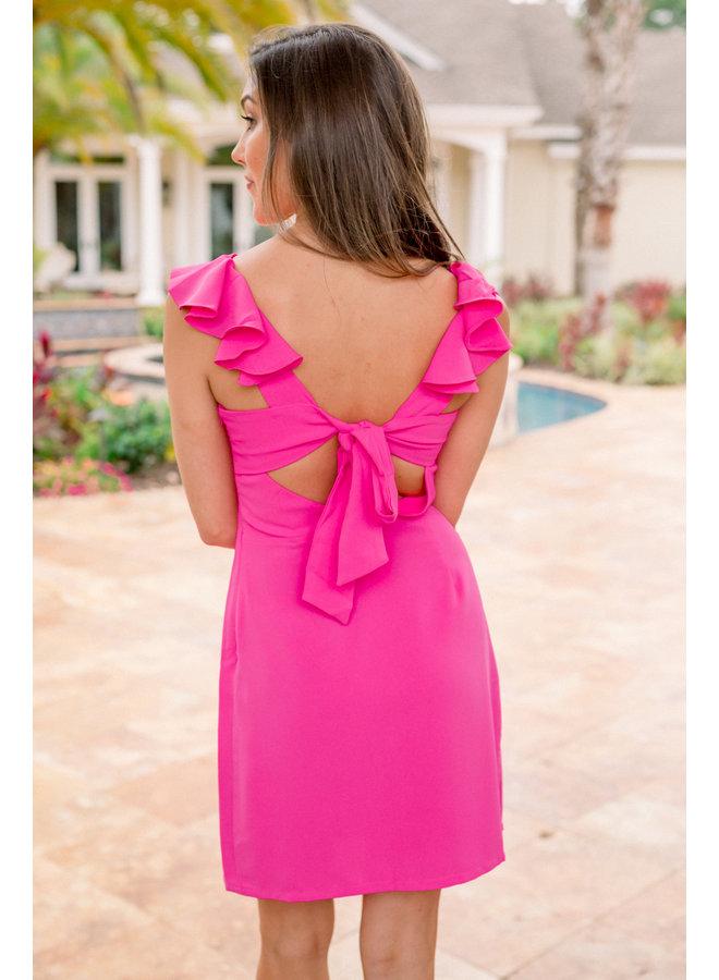 Up All Night Ruffle Sleeve Dress