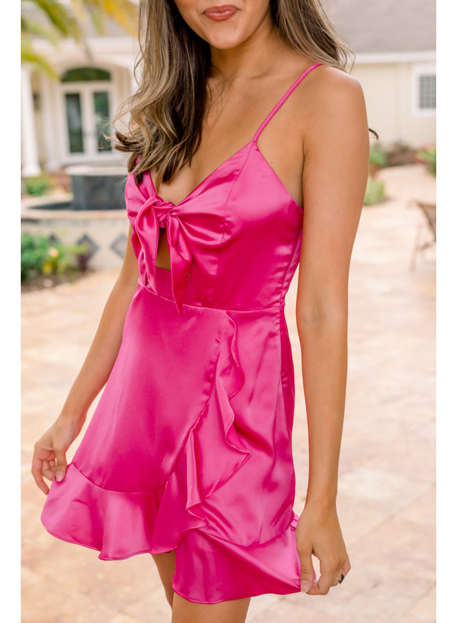 Satin Front Tie Dress