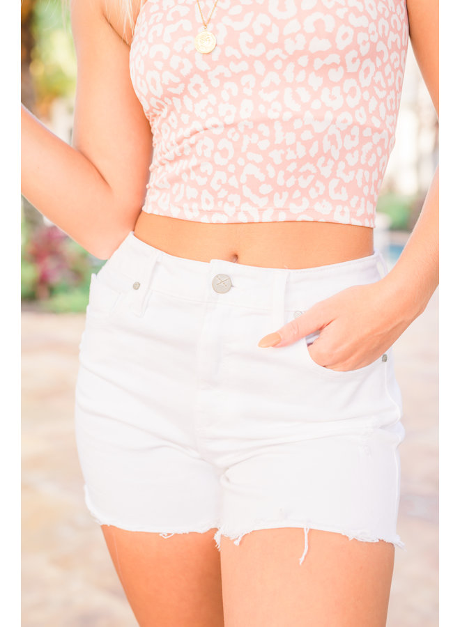 Emma Chalk White Denim Shorts