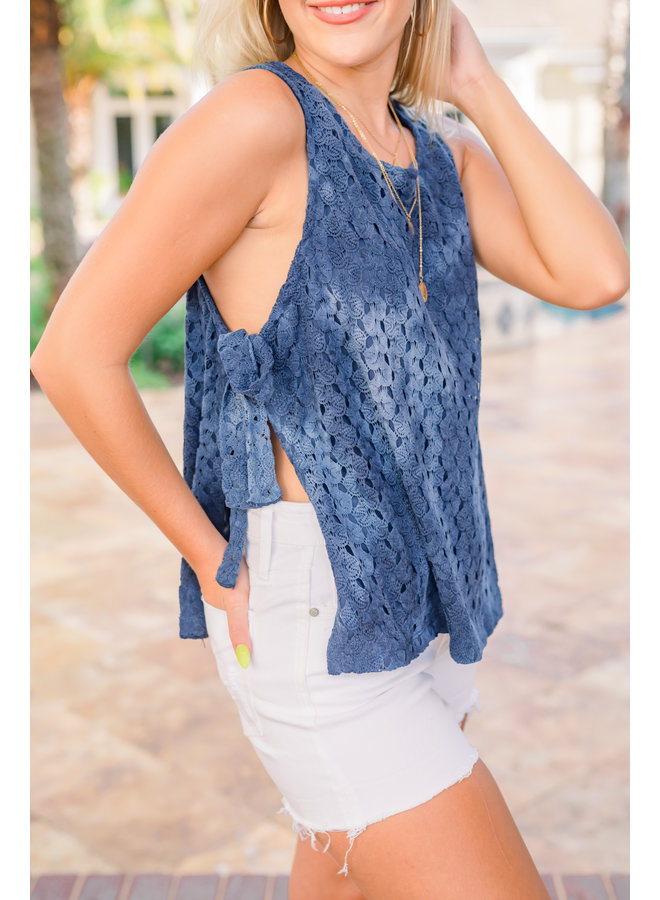 Take Me To The Beach Tank Navy