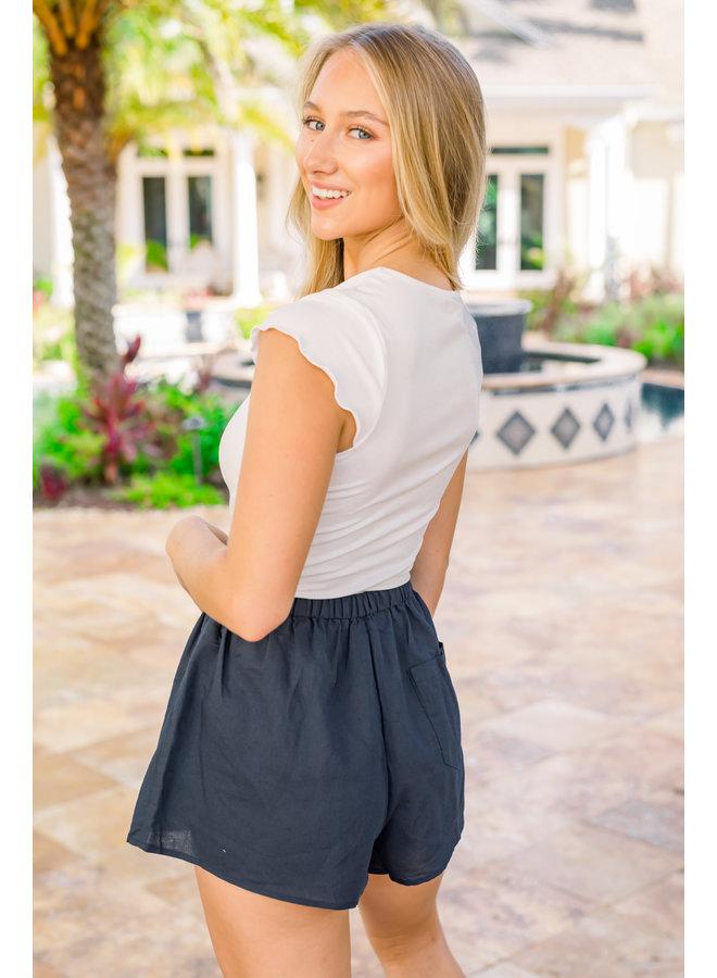 Navy Harlow Shorts