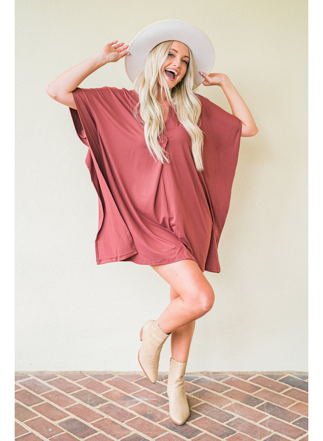 Brick VNeck Dress