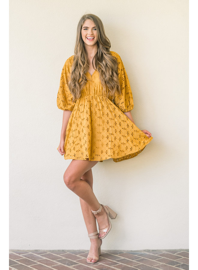 Gold In Our Eyes Lace Dress