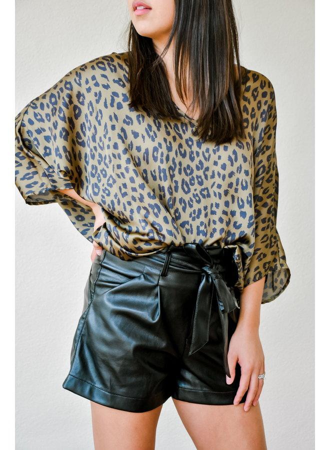 Olive Leopard Silk Tunic