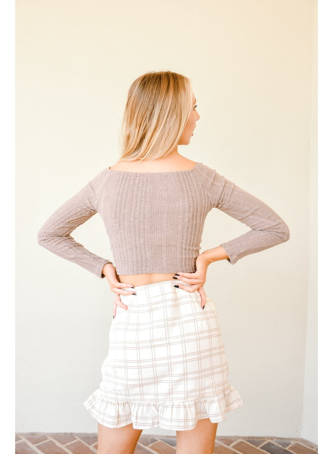 Caffeine Buzz Ribbed Crop