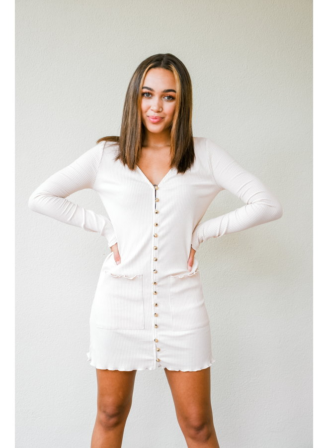Button Like You Ribbed Dress