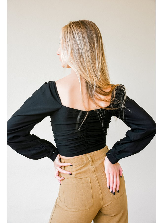 Bubbly Puff Long Sleeve Crop - Black