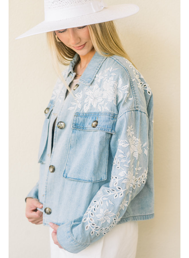 Embroidered in Floral Jean Jacket