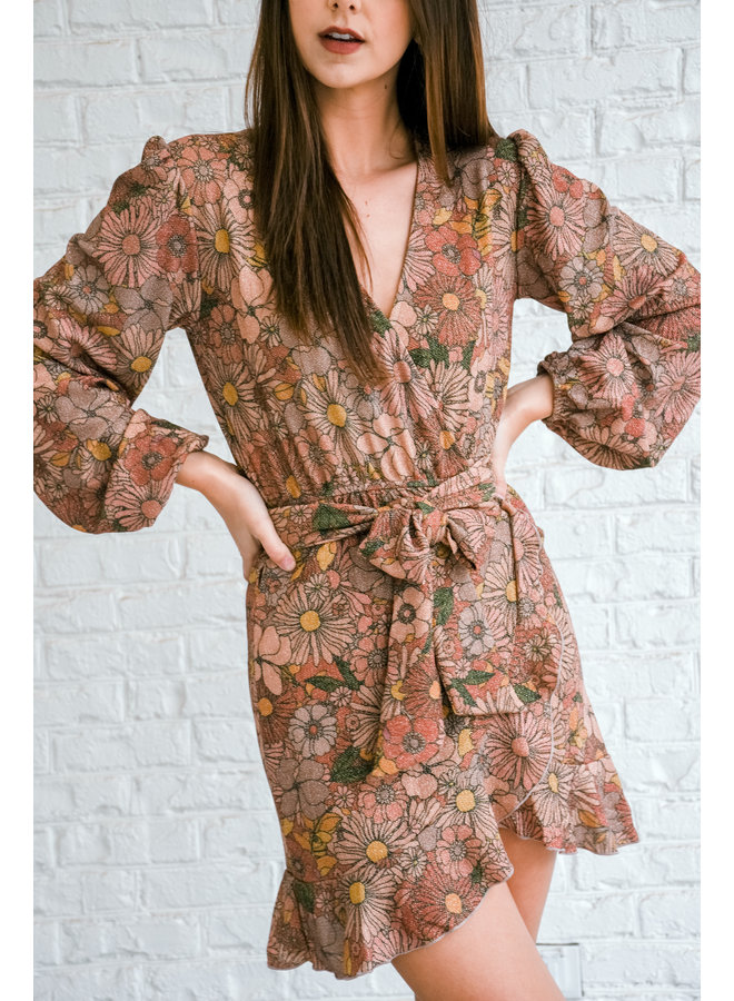 Grooved + Glittered Tie Dress