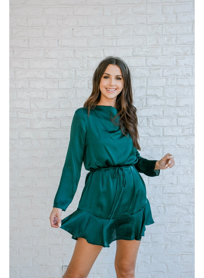 Evergreen Satin Dress
