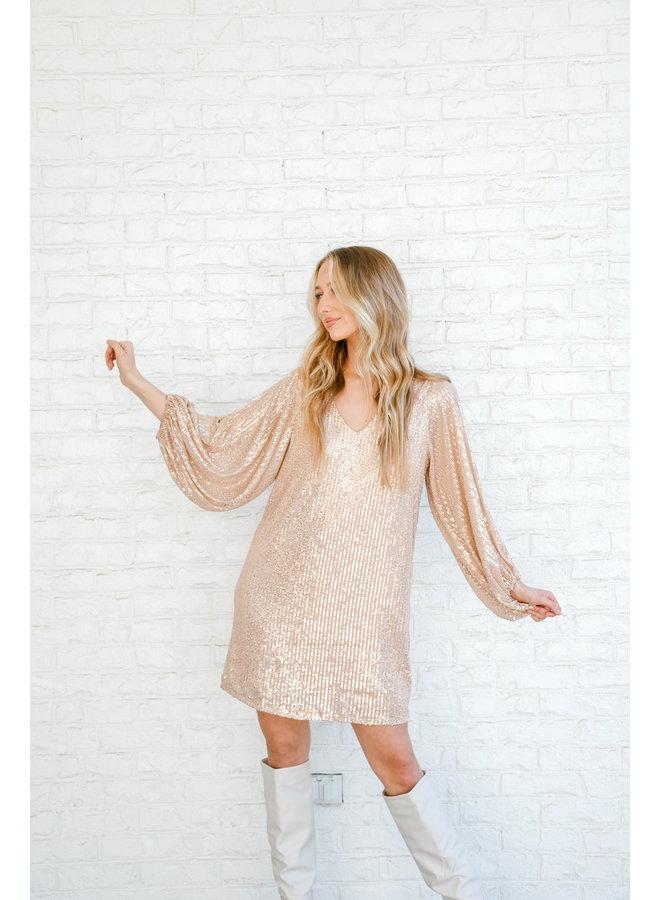 Get + Glam Gold Sequin Dress