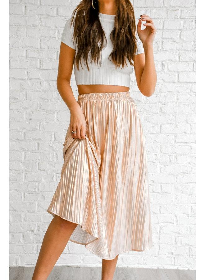 Rose Golden Metallic Midi Skirt