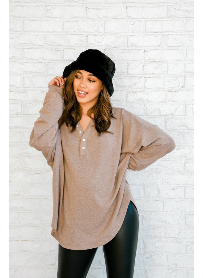 Cozied Up Button Henley - Mocha