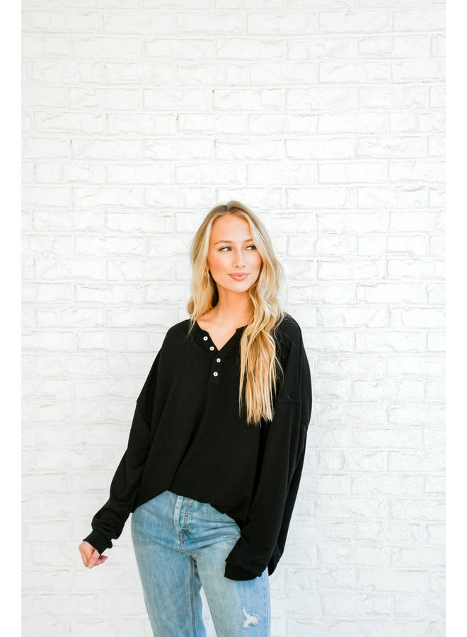 Cozied Up Button Henley- Black