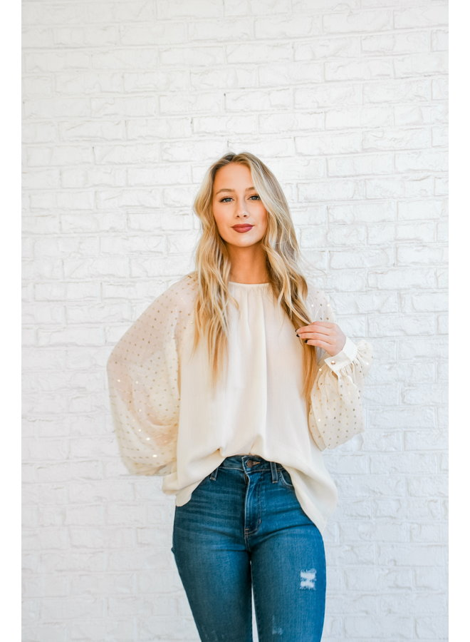 Midnight Fever Sequin Sleeve Blouse