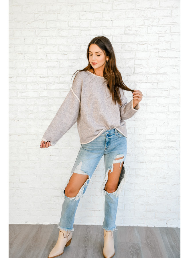 Ashy Lilac Seamed Sweater