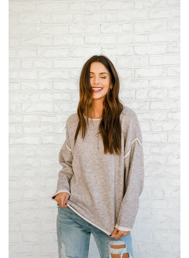 Ashy Lilac Seamed Sweater